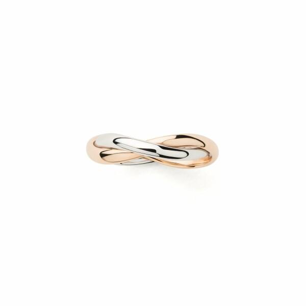 Bague Poiray Tresse Petit Modèle en or rose et or blanc