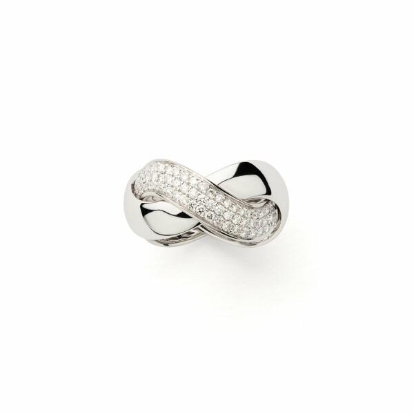 Bague Poiray Tresse Grand Modèle en blanc et diamants