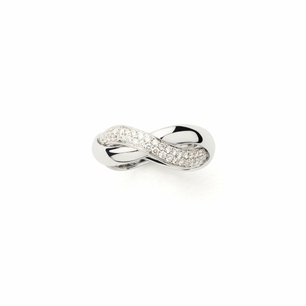 Bague Poiray Tresse Moyen Modèle en blanc et diamants
