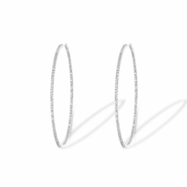 Boucles d'oreilles Messika Gatsby Eternity en Or blanc et Diamant