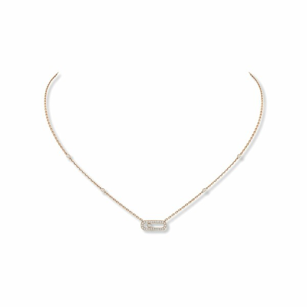 Collier Messika Move Classique Uno en or rose et diamants