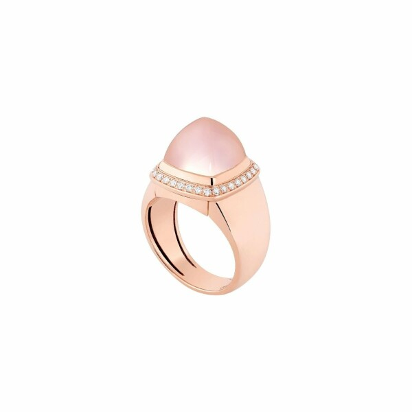 Bague interchangeable FRED Pain de sucre en or rose, diamants, quartz rose