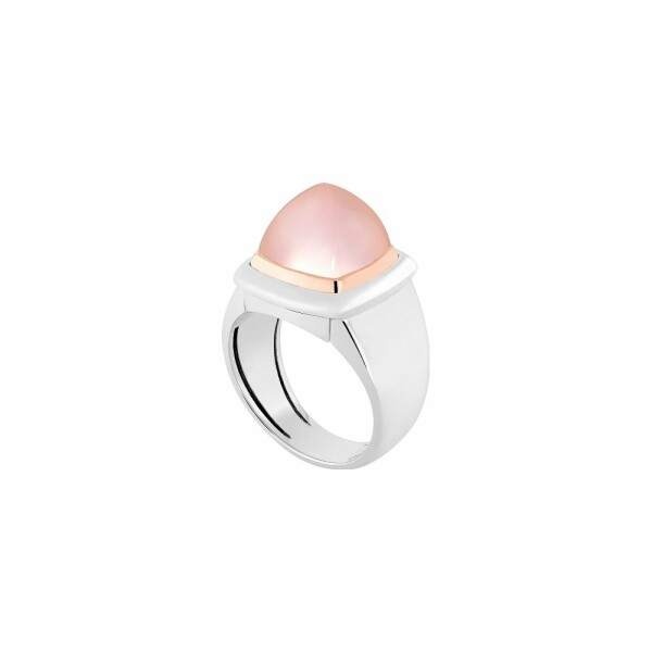 Bague interchangeable FRED Pain de sucre en or blanc, quartz rose