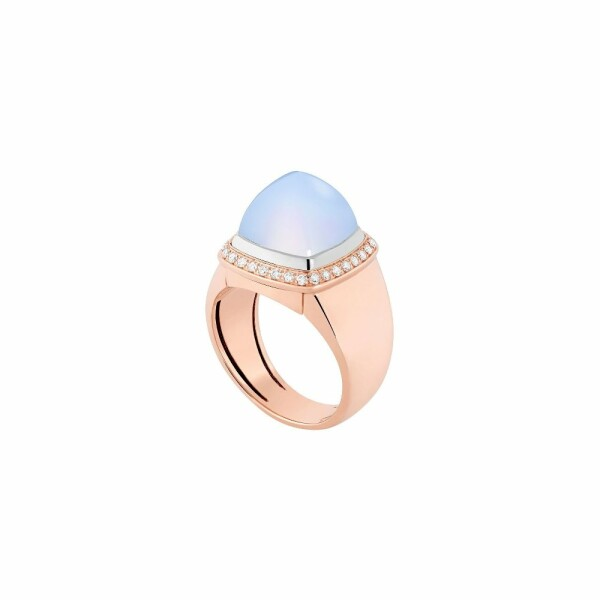 Bague interchangeable FRED moyen modèle Pain de sucre en or rose, or blanc, diamants, calcédoine
