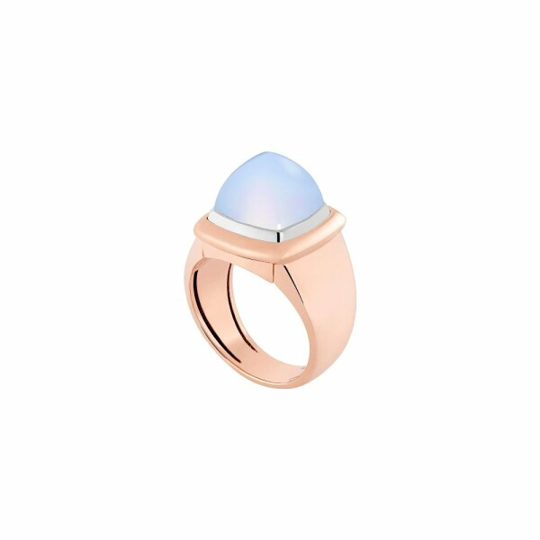 Bague interchangeable FRED Pain de sucre en or rose, or blanc, calcédoine