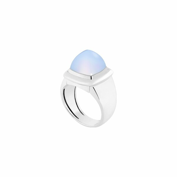 Bague interchangeable FRED Pain de sucre en or blanc, calcédoine