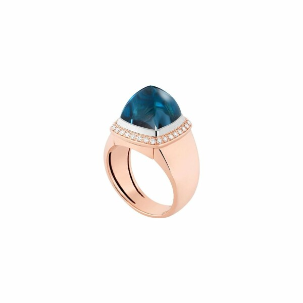 Bague interchangeable FRED Pain de sucre en or rose, diamants, topaze Blue London