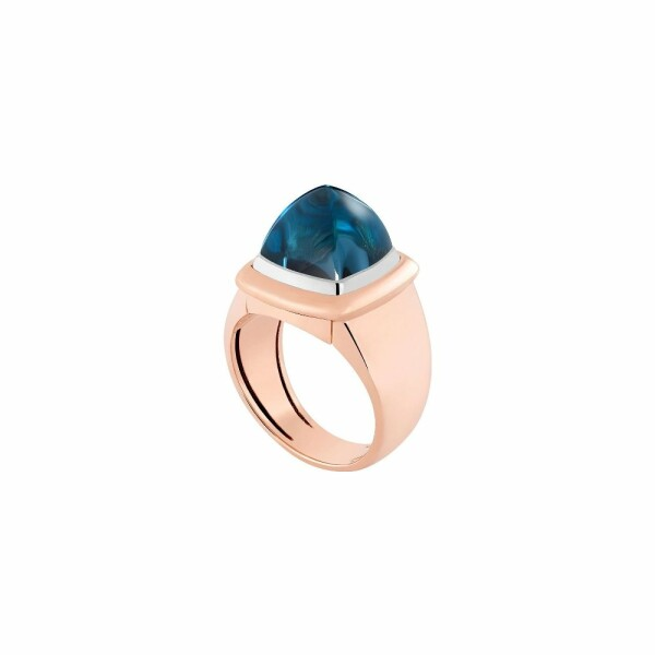 Bague interchangeable FRED Pain de sucre en or rose, topaze Blue London