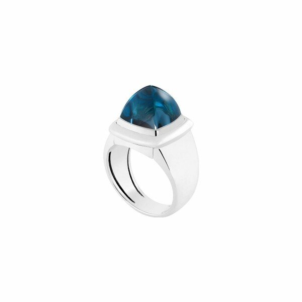 Bague interchangeable FRED Pain de sucre en or blanc, topaze Blue London
