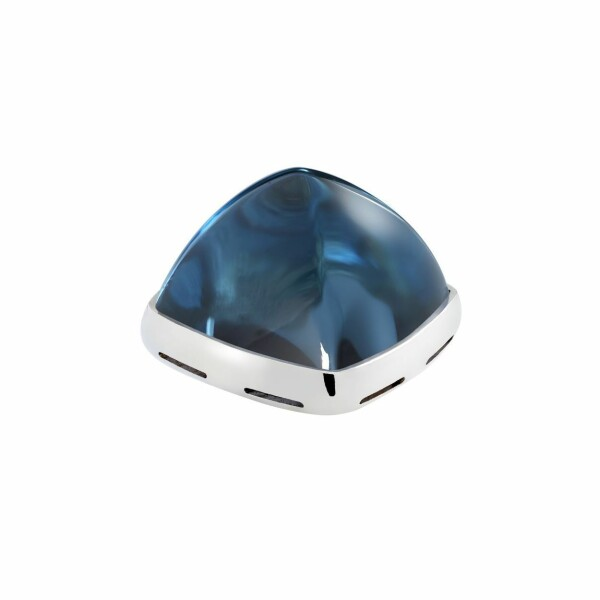 Cabochon FRED Pain de sucre en or blanc et topaze Blue London