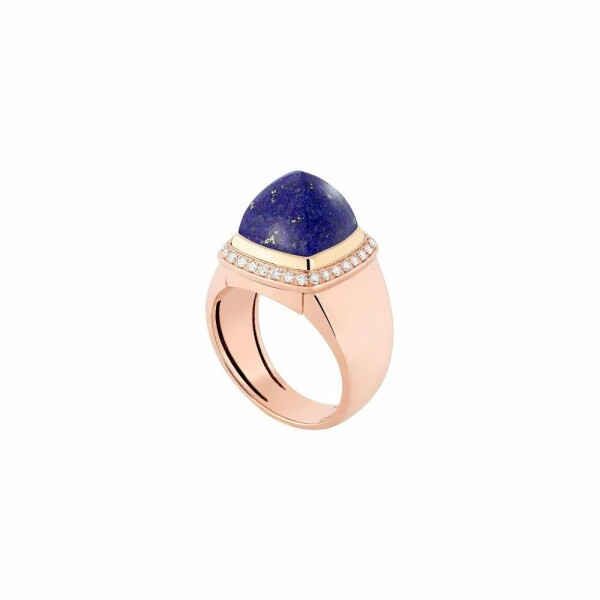 Bague interchangeable FRED Pain de sucre en or rose, or jaune, diamants, lapis lazuli