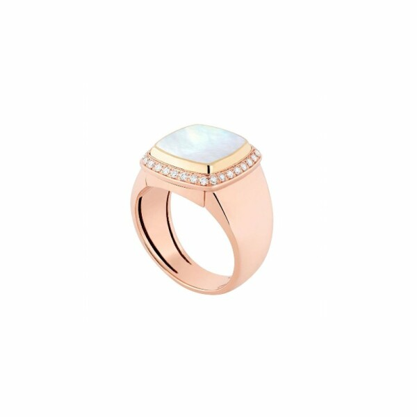 Bague interchangeable FRED Pain de sucre en or rose, or jaune, diamants, nacre blanche