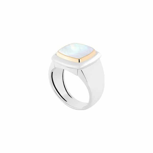 Bague interchangeable FRED Pain de sucre en or blanc, or jaune, nacre blanche