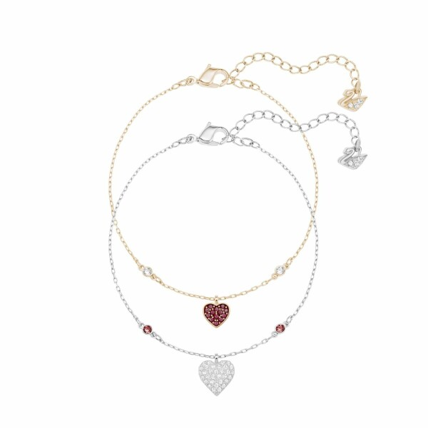 Bracelet Swarovski Crystal Wishes Heart en cristaux Swarovski, acier et plaqué or rose, taille M