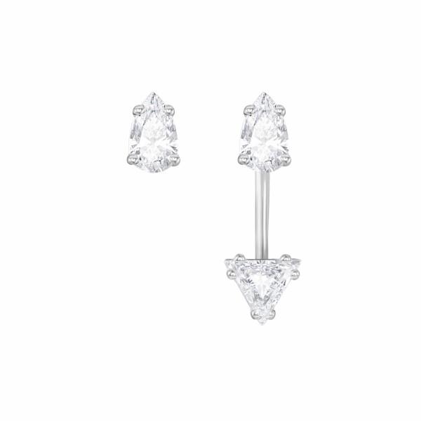 Boucles d'oreilles Swarovski Attract Square en cristaux Swarovski et acier rhodié