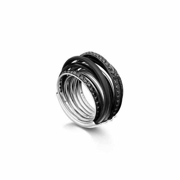 Bague de GRISOGONO Allegra en or blanc, diamants noirs et ceramique