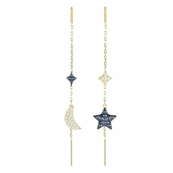 Boucles d'oreilles Swarovski Duo Moon en cristaux Swarovski et plaqué or jaune