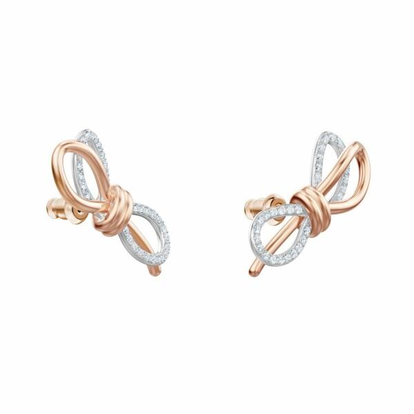 Boucles d'oreilles Swarosvki Lifelong Bow en cristaux Swarovski, acier rhodié et plaqué or rose