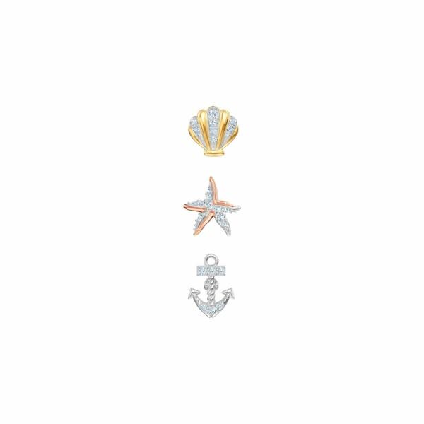 Mono boucles d'oreilles Swarovski Ocean multicolore en acier, plaqué or jaune, plaqué or rose et cristaux Swarovski