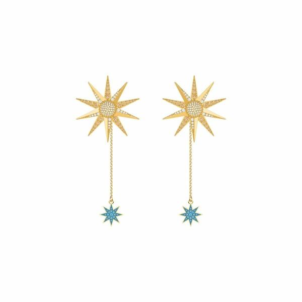 Boucles d'oreilles Swarovski Lucky Goddess en plaqué or jaune et cristaux Swarovski