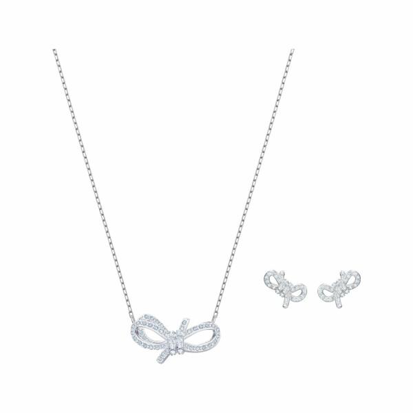 Parure Swarovski Lifelong Bow en acier, rhodium et cristaux Swarovski