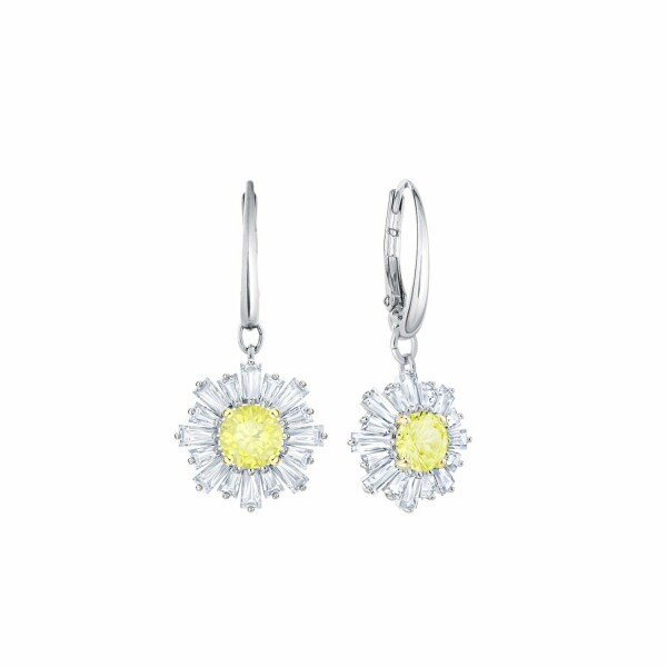 Boucles d'oreilles Swarovski Sunshine en acier rhodié et cristaux Swarovski