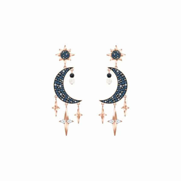 Boucles d'oreilles Swarovski Symbolic multicolore en plaqué or rose et cristaux Swarovski
