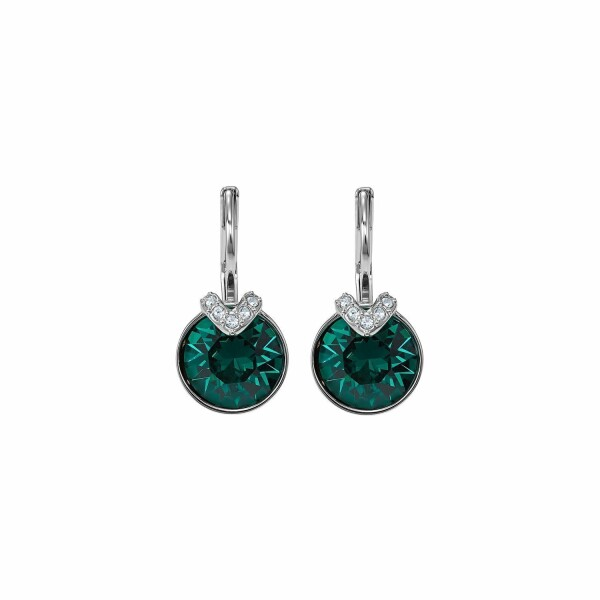 Boucles d'oreilles Swarovski Bella V en acier rhodié et cristaux Swarovski verts