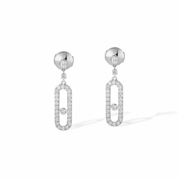 Boucles d'oreilles Messika Move Classique Dormeuses Uno en or blanc et diamants