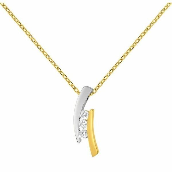 Collier en or jaune, or blanc et oxydes de zirconium