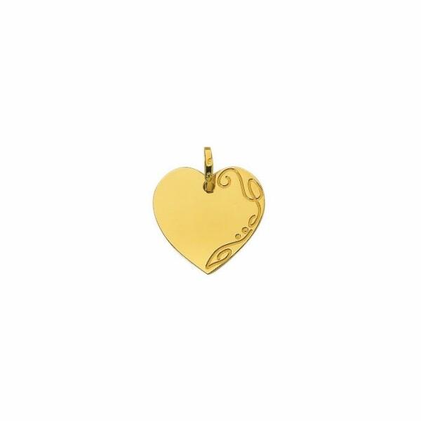 Médaille d'identité Cœur en or jaune