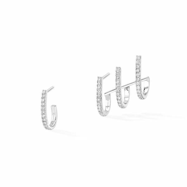 Boucles d'oreilles créoles Messika Gatsby en or blanc et diamants
