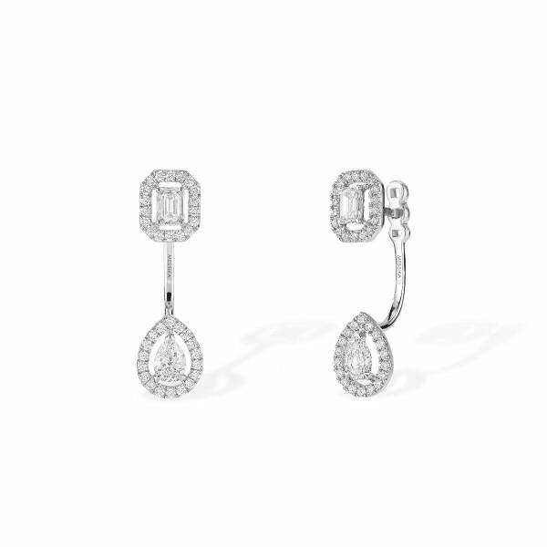 Boucles d'oreilles créoles Messika My Twin Toi & Moi en or blanc et diamants