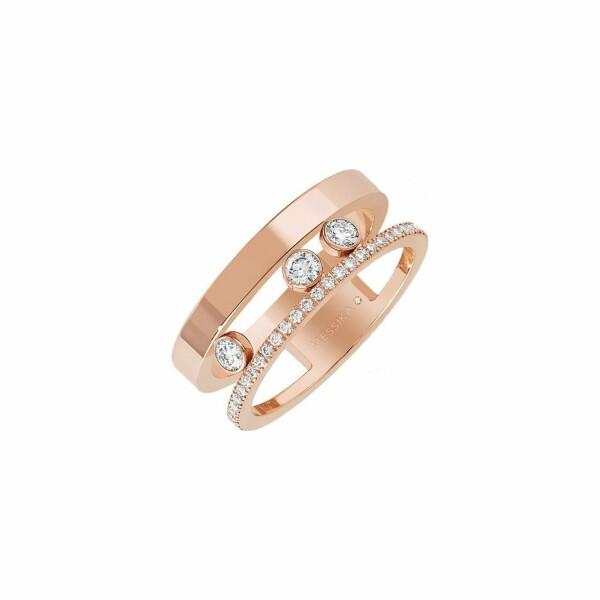 Bague Messika Move Joaillerie Romane en or rose et pavée de diamants