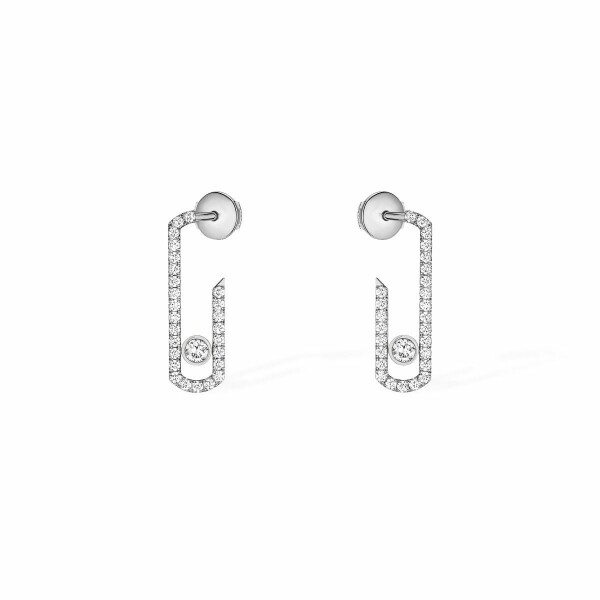 Boucles d'oreilles Messika Move Addiction pavées de diamants en or blanc