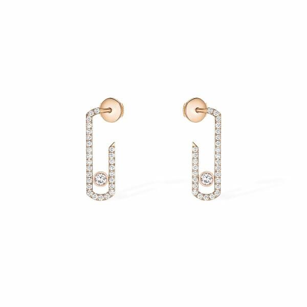 Boucles d'oreilles Messika Move Addiction pavées de diamants en or rose