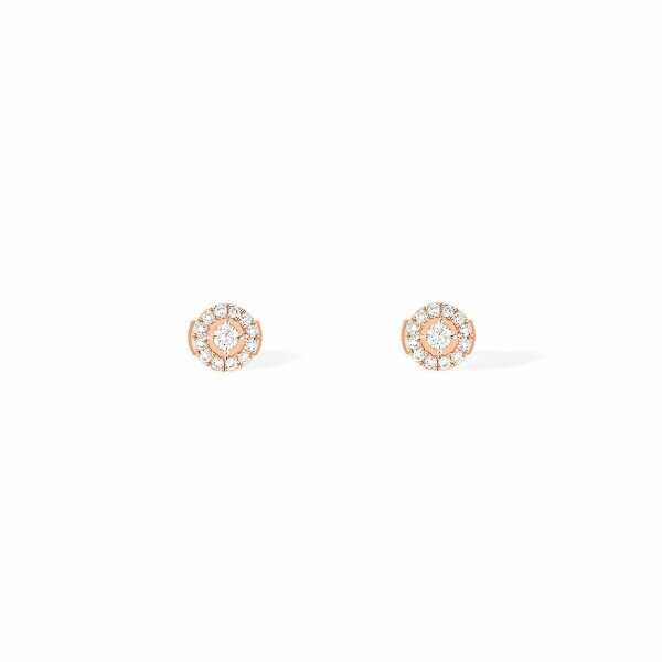 Boucles d'oreilles Messika Joy en or rose et diamants ronds PM