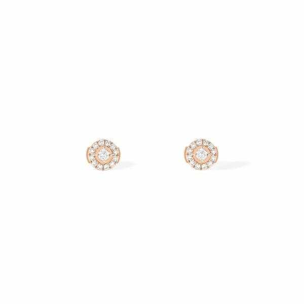 Boucles d'oreilles Messika Joy en or rose et diamants ronds PM
