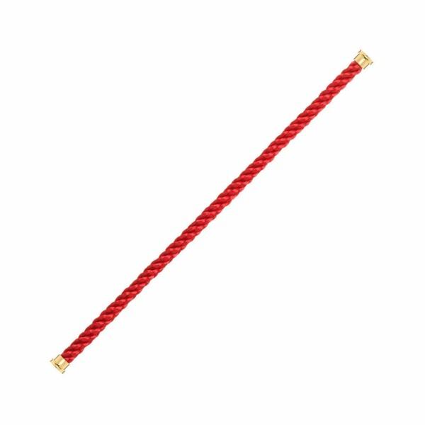 Câble grand modèle pour bracelet FRED Force 10 rouge en Corderie avec embouts plaqué or jaune