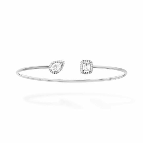 Bracelet Jonc flex Messika My Twin Toi & Moi en or blanc et diamants