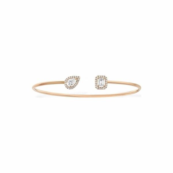 Bracelet jonc Messika My Twin en or rose et diamants