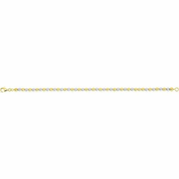 Bracelet boule en or jaune et or blanc