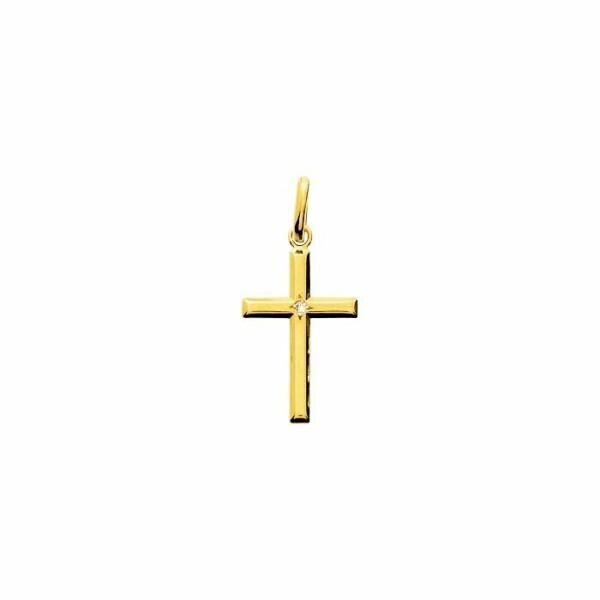 Pendentif croix en or blanc et diamant