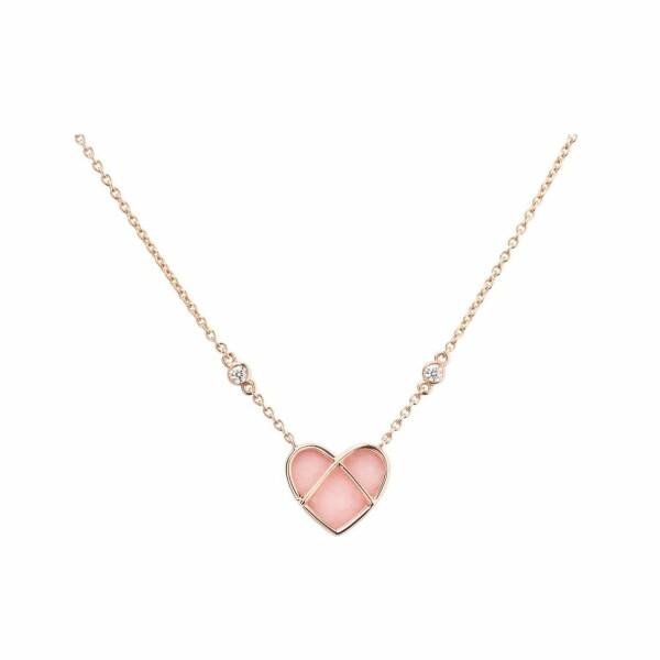 Collier Poiray L'Attrape Cœur petit modèle en or rose et opale rose