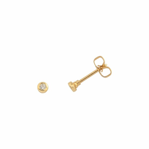 Boucles d'oreilles en or jaune et diamants HSI de 0.04ct