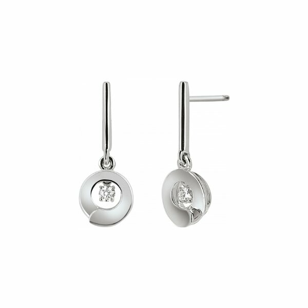 Boucles d'oreilles Envol dancing stone en or blanc et diamant de 0.1ct