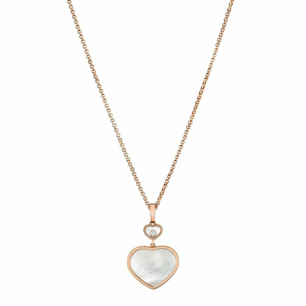 Collier Chopard Happy Hearts en or rose et nacre