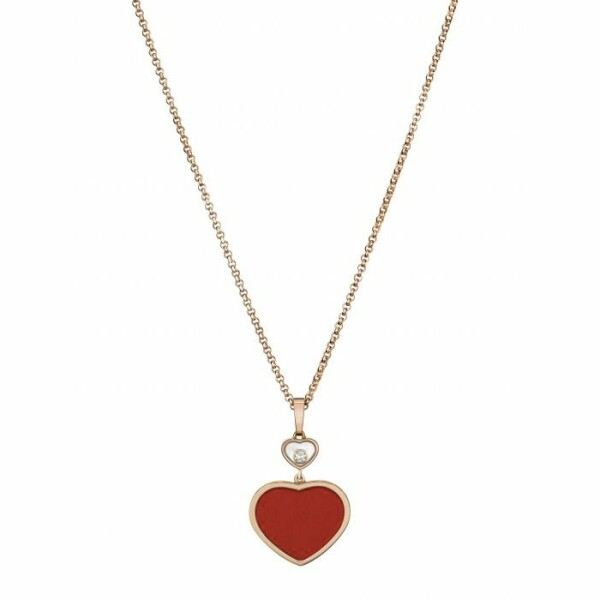 Pendentif Chopard Happy Hearts en or rose, diamant et pierre rouge