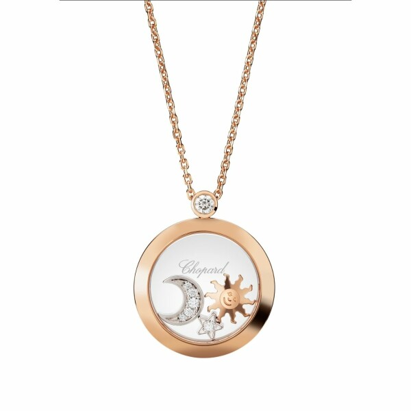 Collier Chopard Happy Diamonds en or rose, or blanc et diamants