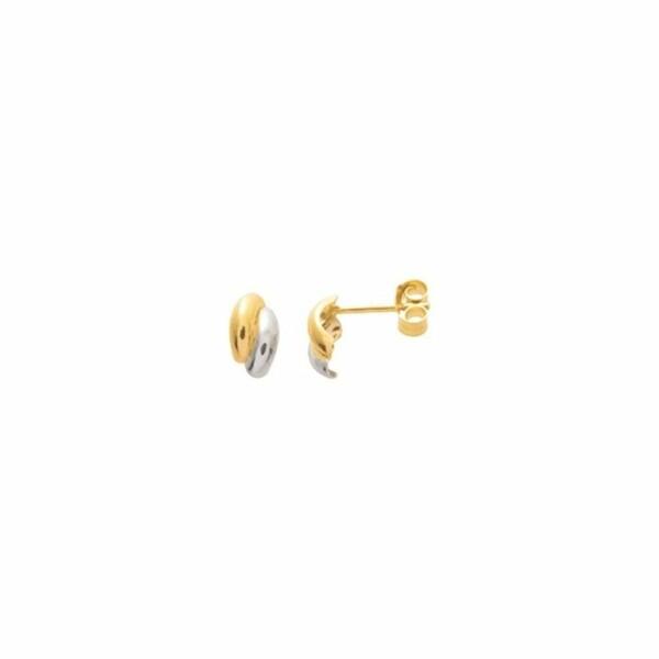 Boucles d'oreilles 1/2 créoles en or jaune et or blanc